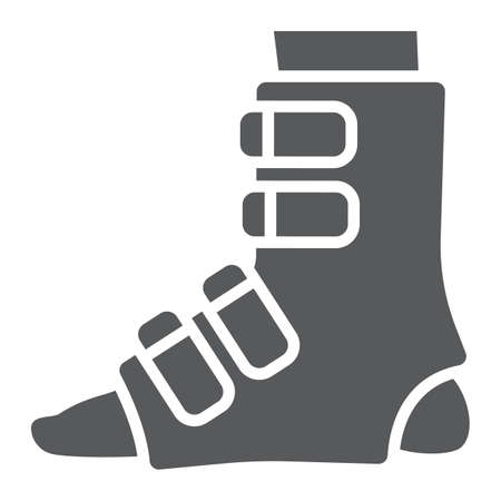 Foot splint glyph icon, orthopedic and medical, leg bandage sign, vector graphics, a solid pattern on a white background.