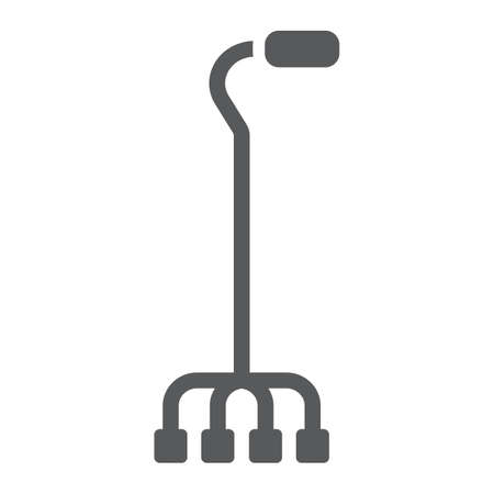 Quad walking stick glyph icon, orthopedic and medical, quad cane sign, vector graphics, a solid pattern on a white background. 스톡 콘텐츠 - 131776812