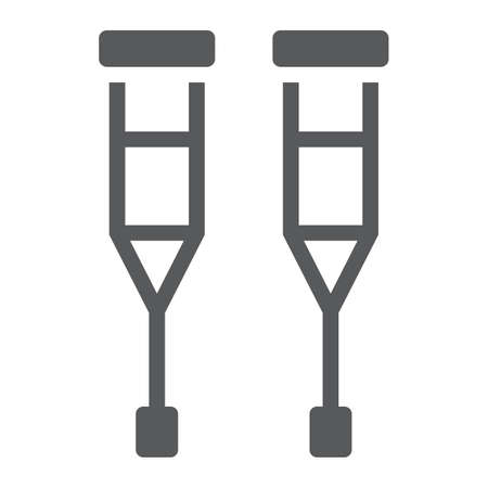 Walking crutches glyph icon, orthopedic and medical, support cane sign, vector graphics, a solid pattern on a white background. 일러스트