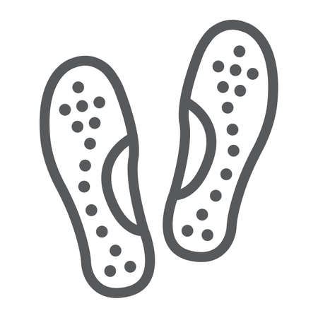 Orthopedic insoles line icon, orthopedic and medical, flat foot correct sign, vector graphics, a linear pattern on a white background.