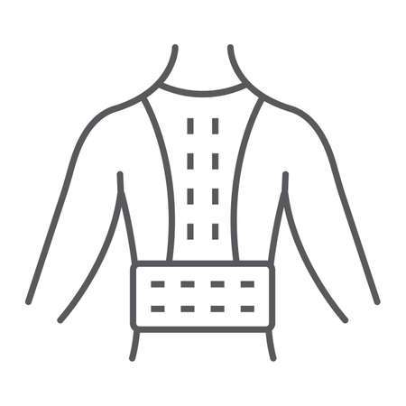 Orthopedic corset thin line icon, orthopedic and medical, posture correction brace sign, vector graphics, a linear pattern on a white background.