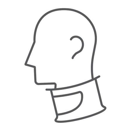 Cervical collar thin line icon, orthopedic and medical, neck collar sign, vector graphics, a linear pattern on a white background. 스톡 콘텐츠 - 131776953