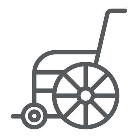 Wheelchair line icon, orthopedic and medical, disabled chair sign, vector graphics, a linear pattern on a white background.