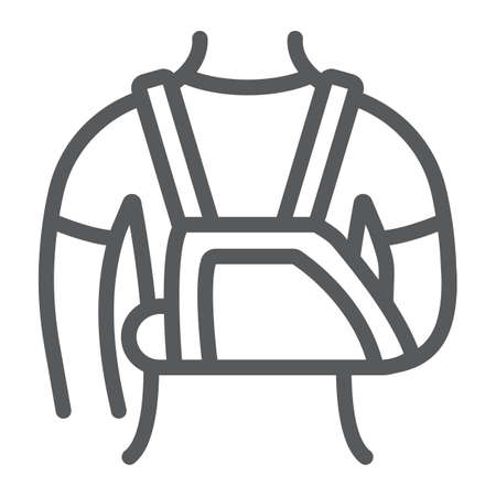 Shoulder immobilzer line icon, medical and healthcare, shoulder bandage sign, vector graphics, a linear pattern on a white background. 스톡 콘텐츠 - 131777070