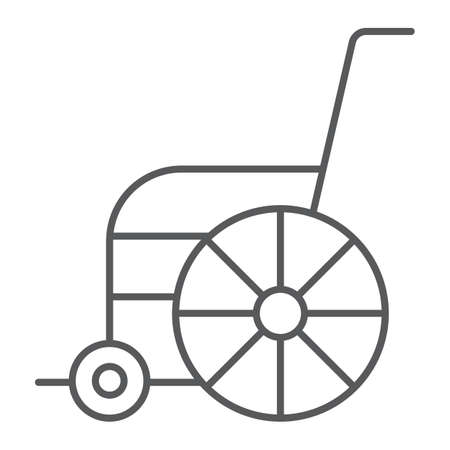 Wheelchair thin line icon, orthopedic and medical, disabled chair sign, vector graphics, a linear pattern on a white background.
