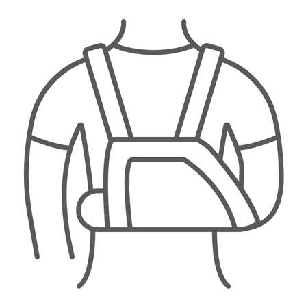 Shoulder immobilzer thin line icon, medical and healthcare, shoulder bandage sign, vector graphics, a linear pattern on a white background. Çizim