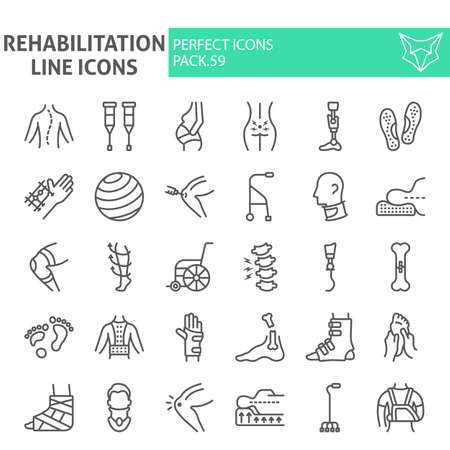 Rehabilitation line icon set, therapy symbols collection, vector sketches, illustrations, physiotherapy signs linear pictograms package isolated on white background.