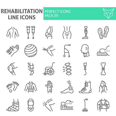 Zestaw ikon linii rehabilitacji, kolekcja symboli terapii, szkice wektorowe, ilustracje, pakiet znaków liniowych piktogramów fizjoterapii na białym tle.