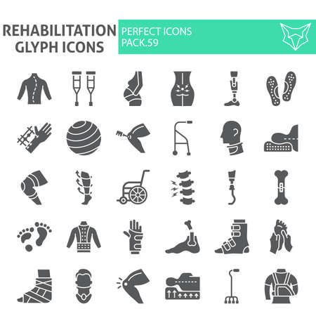 Rehabilitation glyph icon set, therapy symbols collection, vector sketches, illustrations, physiotherapy signs solid pictograms package isolated on white background. Illustration