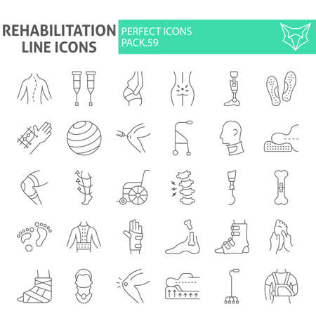 Rehabilitation thin line icon set, therapy symbols collection, vector sketches, illustrations, physiotherapy signs linear pictograms package isolated on white background.