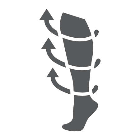 Compression stockings glyph icon, medical and equipment, medicine socks sign, vector graphics, a solid pattern on a white background. Çizim
