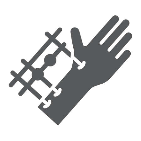 Fixation joints surgery glyph icon, medical and equipment, hand surgery sign, vector graphics, a solid pattern on a white background.