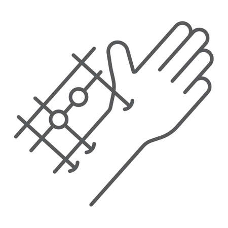 Fixation joints surgery thin line icon, medical and equipment, hand surgery sign, vector graphics, a linear pattern on a white background.