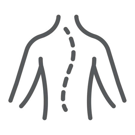 Scoliosis line icon, orthopedic and medical, spine sign, vector graphics, a linear pattern on a white background.