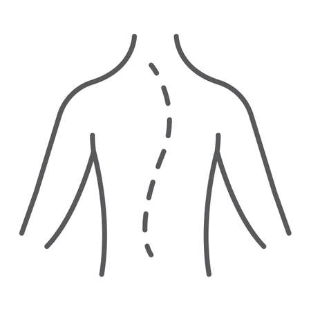 Scoliosis thin line icon, orthopedic and medical, spine sign, vector graphics, a linear pattern on a white background.