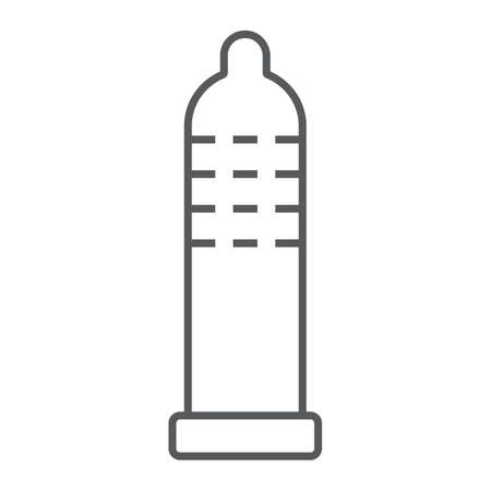 Condom thin line icon, rubber and protection, latex sign, vector graphics, a linear pattern on a white background, eps 10.