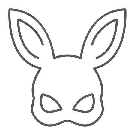 Icône de fine ligne de sexe lapin masque, jouet et adulte, signe de masque, graphiques vectoriels, un dessin linéaire sur un fond blanc, eps 10.