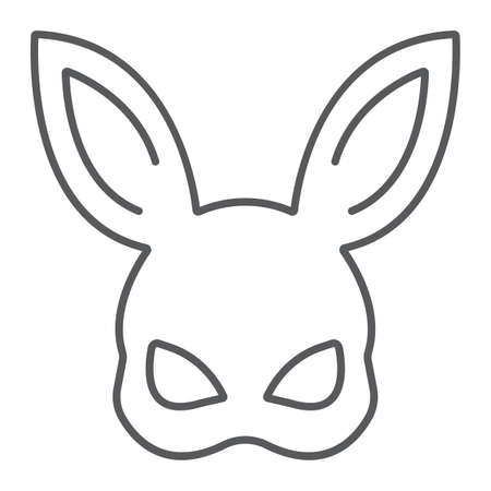 Sex rabbit mask thin line icon, sex toy and adult, bdsm mask sign, vector graphics, a linear pattern on a white background, eps 10.  イラスト・ベクター素材