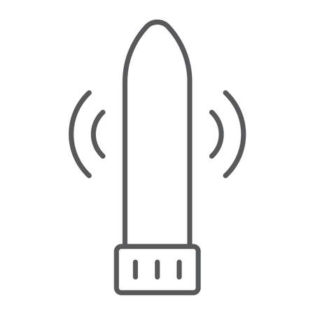 Dildo vibrator thin line icon, sex toy and adult, vibrator sign, vector graphics, a linear pattern on a white background, eps 10.