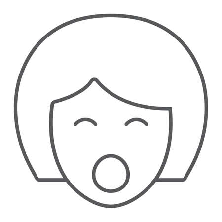 Sex doll thin line icon, sex toy and adult, blowjob sign, vector graphics, a linear pattern on a white background, eps 10.