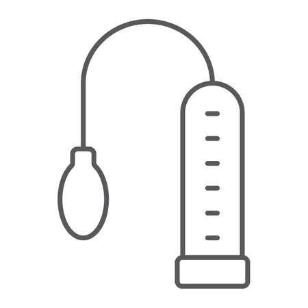 Penis pump thin line icon, toy and adult, vacuum sign, vector graphics, a linear pattern on a white background, eps 10.