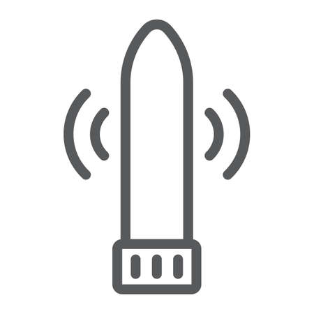 Dildo vibrator line icon, sex toy and adult, vibrator sign, vector graphics, a linear pattern on a white background, eps 10.