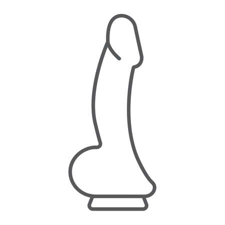 Dildo thin line icon, toy and adult, penis sign, vector graphics, a linear pattern on a white background, eps 10.