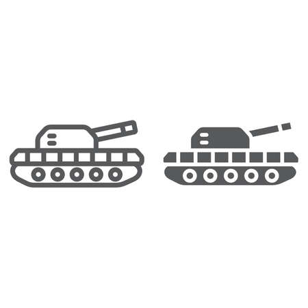 Army tank line and glyph icon, army and force, armature sign, vector graphics, a linear pattern on a white background.