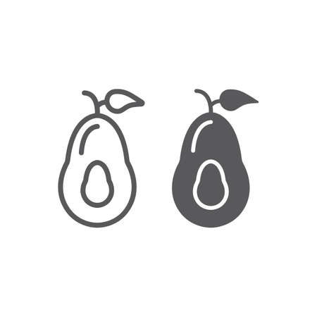 Avocado line and glyph icon, fruits and vegetables, diet food sign, vector graphics, a linear pattern on a white background.