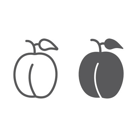 Plum line and glyph icon, fruits and organic, healthy food sign, vector graphics, a linear pattern on a white background.