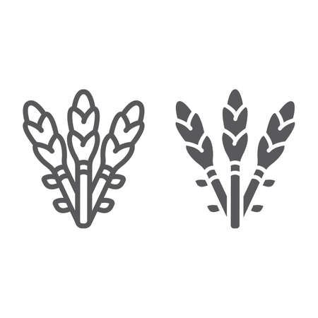 Asparagus line and glyph icon, vegetable and organic, vegetarian food sign, vector graphics, a linear pattern on a white background.