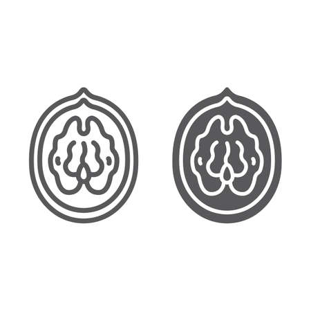 Walnut line and glyph icon, plant and food, nut sign, vector graphics, a linear pattern on a white background, eps 10.