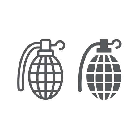 Grenade line and glyph icon, army and military, hand bomb sign, vector graphics, a linear pattern on a white background, eps 10.