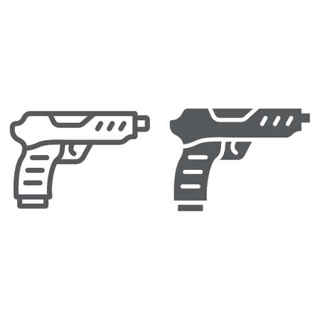 Pistol line and glyph icon, army and military, gun sign, vector graphics, a linear pattern on a white background, eps 10. Çizim