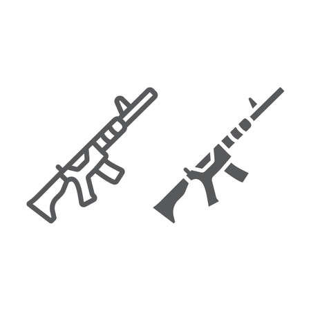 M4A1 line and glyph icon, rifle and military, automatic machine sign, vector graphics, a linear pattern on a white background, eps 10.