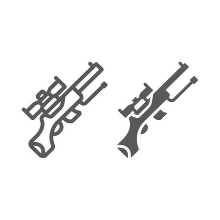 Sniper gun line and glyph icon, weapon and military, automatic machine sign, vector graphics, a linear pattern on a white background, eps 10.