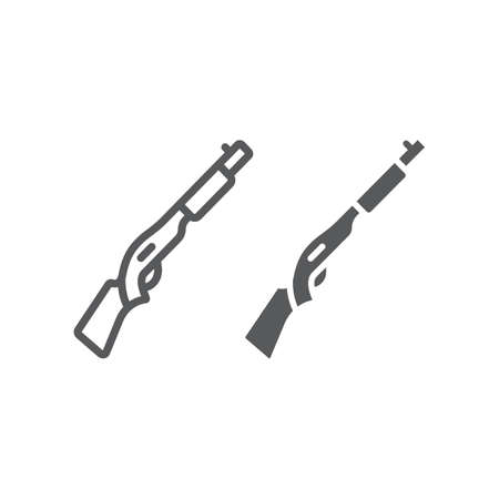 Shotgun line and glyph icon, weapon and military, automatic rifle sign, vector graphics, a linear pattern on a white background, eps 10.