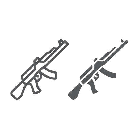AK47 line and glyph icon, rifle and military, machine gun sign, vector graphics, a linear pattern on a white background, eps 10.