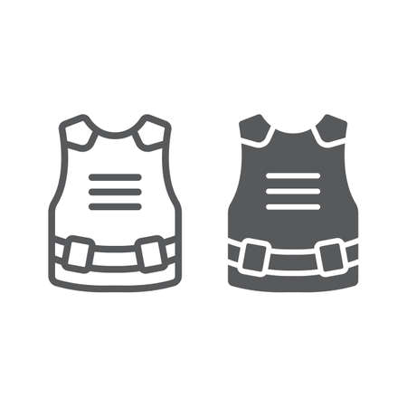 Body armor line and glyph icon, army and military, bulletproof vest sign, vector graphics, a linear pattern on a white background, eps 10. Çizim