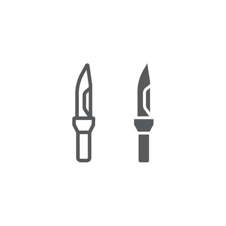 Army knife line and glyph icon, army and weapon, military knife sign, vector graphics, a linear pattern on a white background, eps 10.