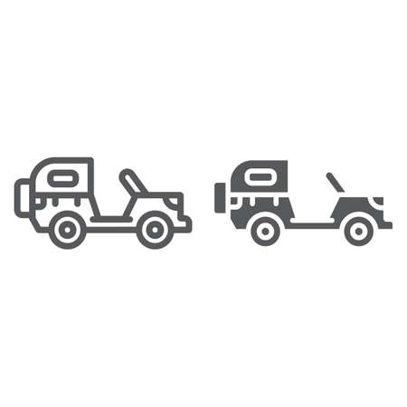 Army vehicle line and glyph icon, army and transport, military car sign, vector graphics, a linear pattern on a white background, eps 10.