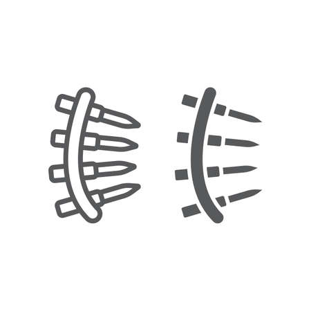 Bullet belt line and glyph icon, army and military, machine gun belt sign, vector graphics, a linear pattern on a white background, eps 10.