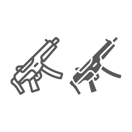 Submachine gun line and glyph icon, army and military, firearm sign, vector graphics, a linear pattern on a white background, eps 10. Çizim