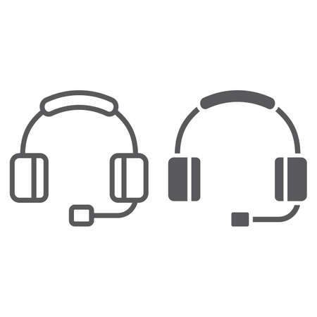 Headphones witn microphone line and glyph icon, technology and device, headset sign, vector graphics, a linear pattern on a white background, eps 10. Çizim