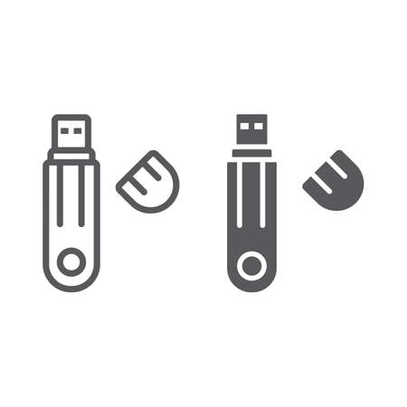 Flash drive line and glyph icon, technology and device, usb storage sign, vector graphics, a linear pattern on a white background, eps 10.