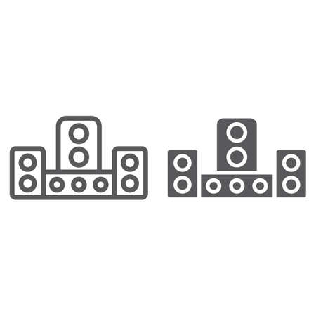 Audio system line and glyph icon, technology and device, sound system sign, vector graphics, a linear pattern on a white background, eps 10. Çizim