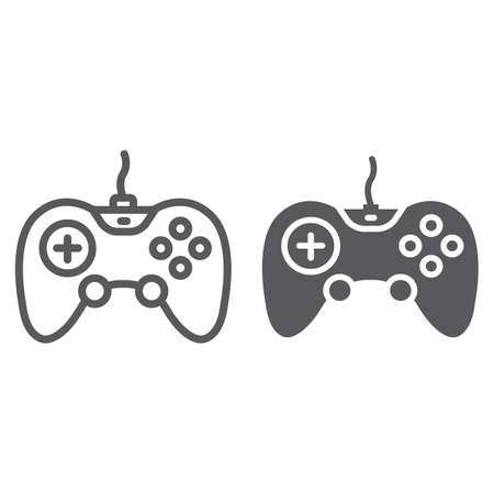 Gamepad line and glyph icon, technology and entertainment, joystick sign, vector graphics, a linear pattern on a white background, eps 10.