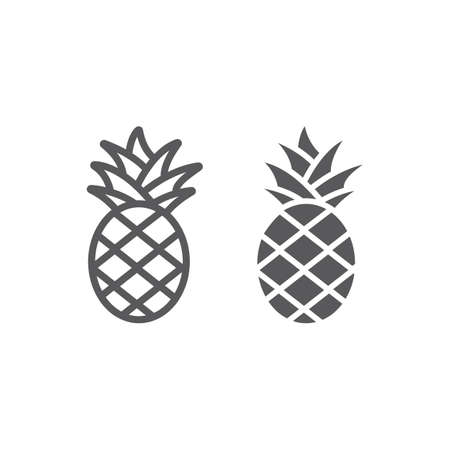 Pineapple line and glyph icon, fruit and food, tropical fruit sign, vector graphics, a linear pattern on a white background, eps 10.