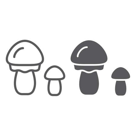 Mushrooms line and glyph icon, organic and food, vegetarian food sign, vector graphics, a linear pattern on a white backgrond, eps 10.
