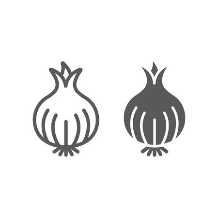 Onion line and glyph icon, organic and vegetable, vegetarian food sign, vector graphics, a linear pattern on a white backgrond, eps 10. Çizim